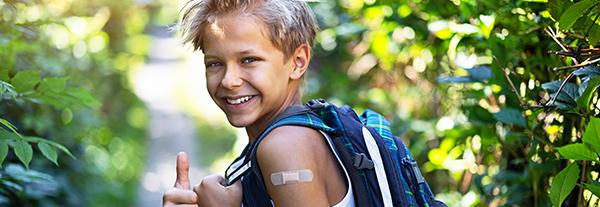 vaccinated school boy
